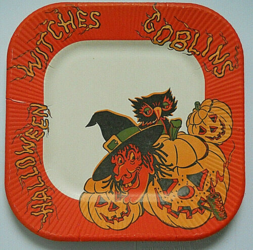Cute Vintage Halloween Paper Luncheon Plate  Witch/JOLs/Goblins 1940s/50s