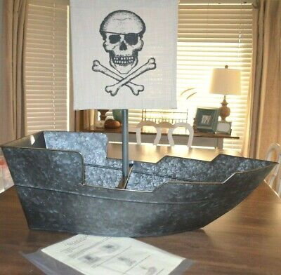 Galvanized Party Bucket (Pottery Barn Pirate Ship Party Bucket NWOT Galvanized Skull)