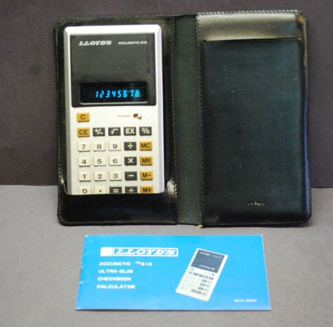 Vintage Lloyd's Accumatic 610 Calculator w/ Case And Manual Made In Japan
