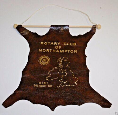 Vintage Rotary International Club Of North Hampton Massachusetts Leather Banner