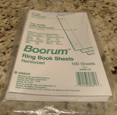 Boorum Pease 3 Hole Ring Book Sheets