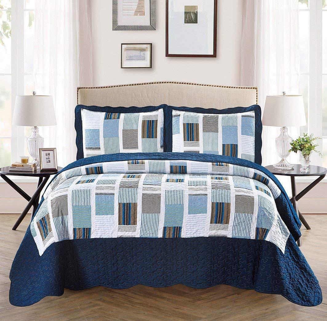 Fancy Linen Reversible Bedspread Stripes Squares Navy Blue W