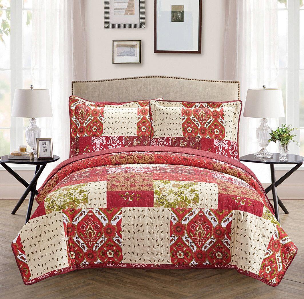 Fancy Linen Oversize Reversible Bedspread Floral Burgundy Be