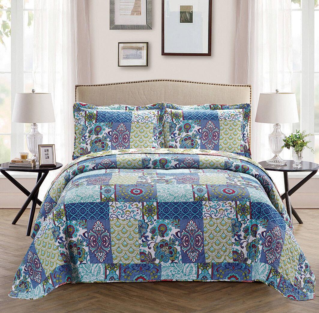 Fancy Linen Oversize Reversible Bedspread Floral Blue Teal G