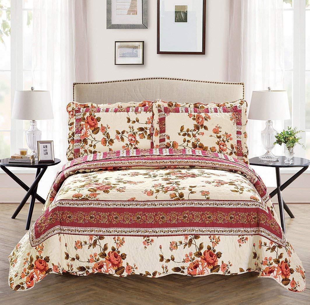 Fancy Linen Reversible Bedspread Set Floral Beige Pink Green