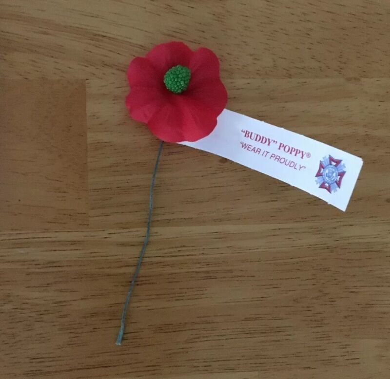 "(1) Vintage Buddy Poppy ""Wear it Proudly"" U.S. Veterans of Foreign Wars NOS"