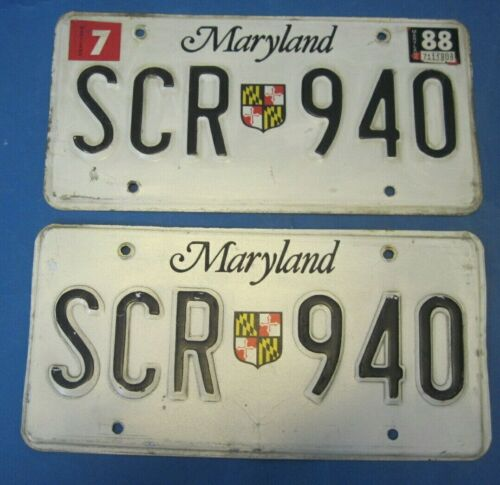 1988 Maryland License Plates matched pair