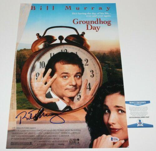 ACTOR BILL MURRAY SIGNED 'GROUNDHOG DAY' 12x18 MOVIE POSTER 1 BECKETT COA BAS
