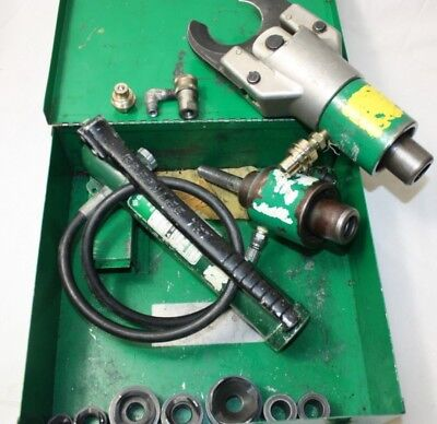 Greenlee 750 751 Hydraulic Cable Cutter 767 Hand Pump With Punch Out Dies Lot