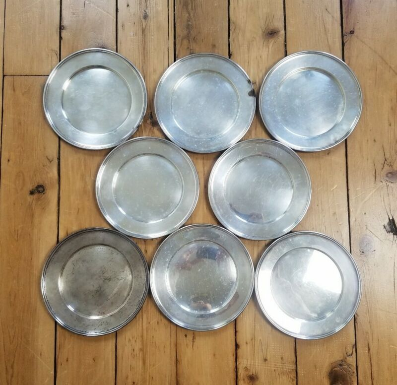 """Lot of 8 Vtg M Fred Hirsch Co Sterling Silver Bread Butter Plates 6"""""""