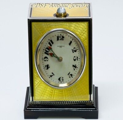 Vintage Tiffany & Co. Yellow Guilloche Enamel Sterling Silver Repeater Clock