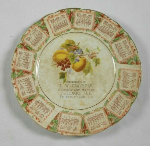 Vtg Calendar Plate A W Cravener Grocery and Market Chicago ILL IL 1909 Lawn