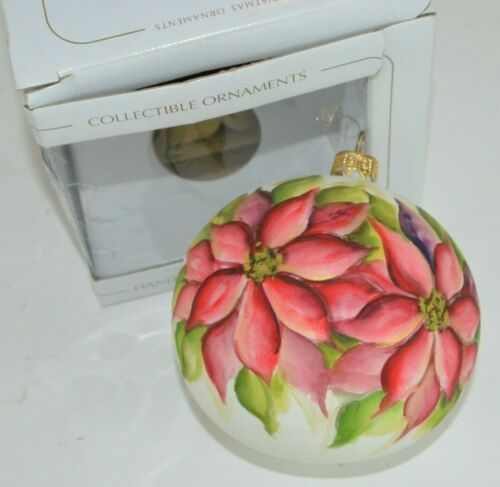 "Dagmara Poland Hand Painted Glass Ball Poinsettia Large 4"" Christmas Ornament"