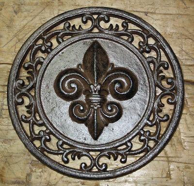 Cast Iron Round FLEUR DE LIS Plaque Sign Rustic Saints Home Decor Boy Scouts