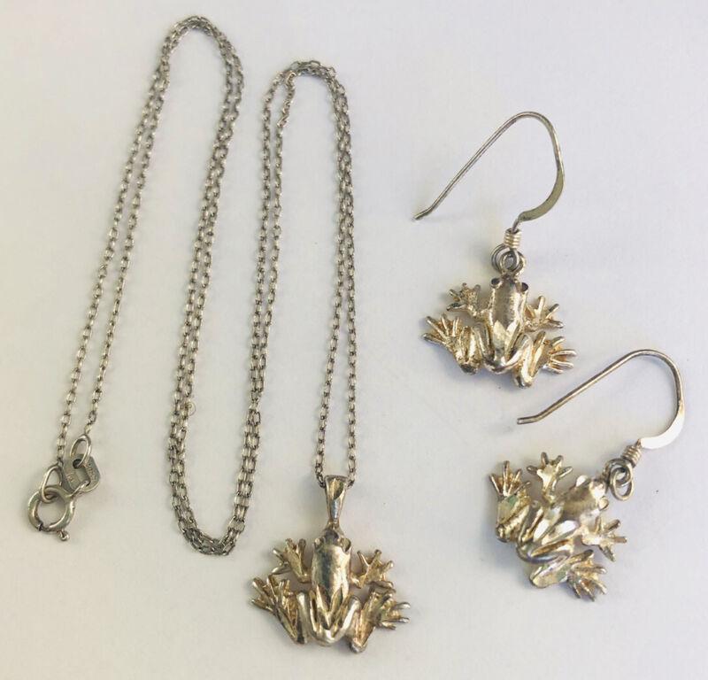 Cute Sterling Silver Frog Necklace & Earrings Demi/Set Vintage Jewelry