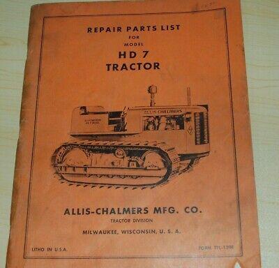 Allis-chalmers Hd7 Tractor Dozer Crawler Parts Manual Book Catalog List Spare 7