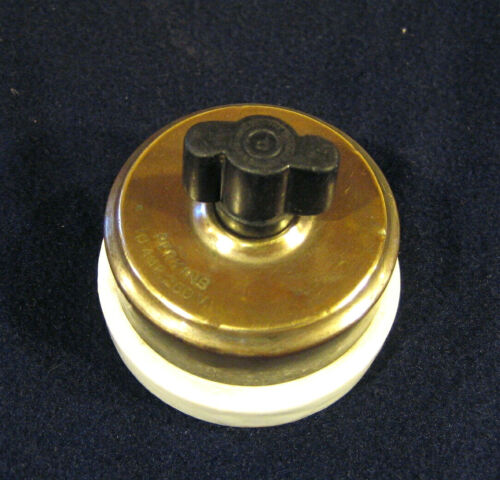 Early Antique Round Porcelain 2-pole Rotary Turn Snap Light Wall Switch -Perkins