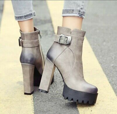 Womens High Block Heels Platform Side Zip Buckle Party Shoes Ankle Boots Zsell