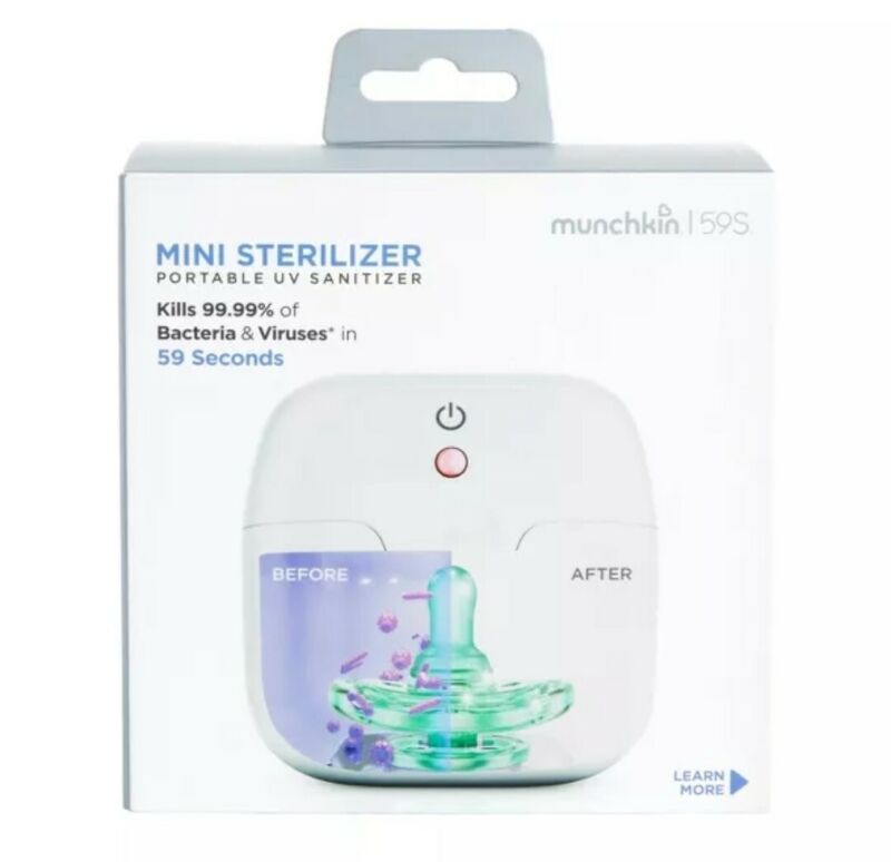 Baby Pacifier Cleaner Munchkin Mini Sterilizer Portable UV Sanitizer Infants