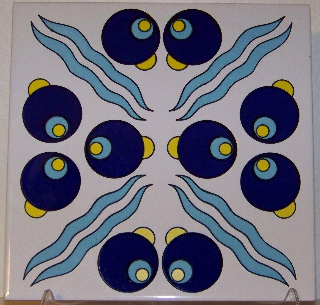 CLEARANCE Blue & Yellow Cintemani 8x8 (20cmx20cm) Turkish Iznik ...