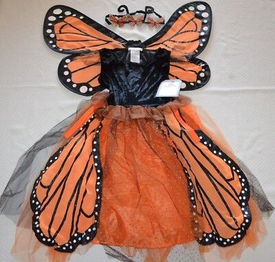 Pottery Barn Kids 3 Pc Monarch Butterfly Tutu Halloween Costume Size 4-6 NEW ()
