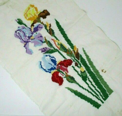 Iris Finished Cross Stitch Vintage Handmade Embroidery