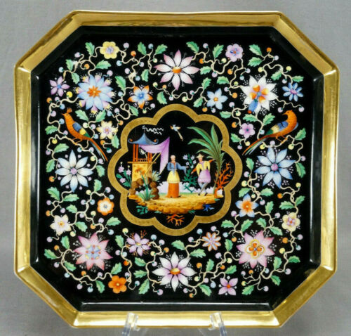 Old Paris Hand Painted Chinoserie Figuries & Birds Floral Black & Gold Tea Tray