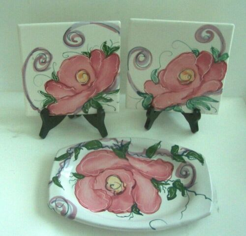 Jan Pugh Pottery Pink Cabbage Rose Tray & Tiles Trivets Packer Creek Signed
