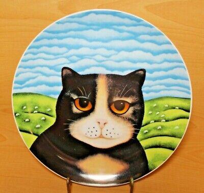 "Dept 56 Priscilla Black Yellow Cat Blue Sky Plate Martin Leman 9 1/4"" VGUC"
