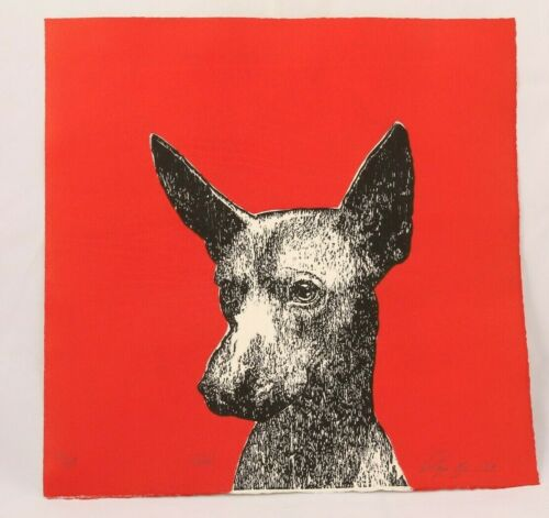 "Lithograph ""Xoloitzcuintle"" Dog Mexican Fine Art Signed Collectible Decor"