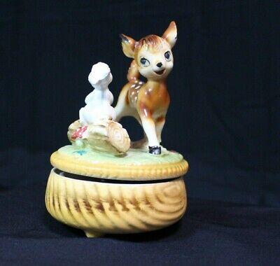 Vtg Bambi Deer Thumper Bunny Nursery Decor Music Box Porcelain Made in Japan