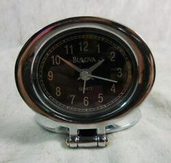 Bulova Adamo Chrome Travel Alarm Clock B6842