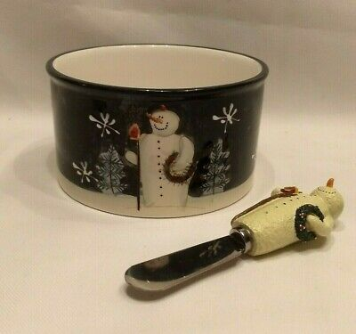 Mary Beth Baxter Certified International Twilight Snowman Dip Bowl and Spreader ()