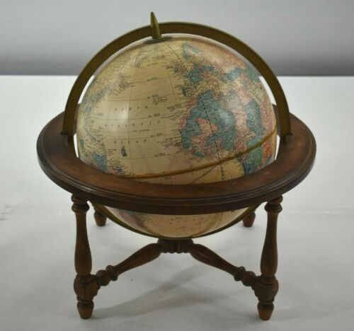 George F Cram World Globe with Wood Stand Vintage MAde in USA C84 No 12