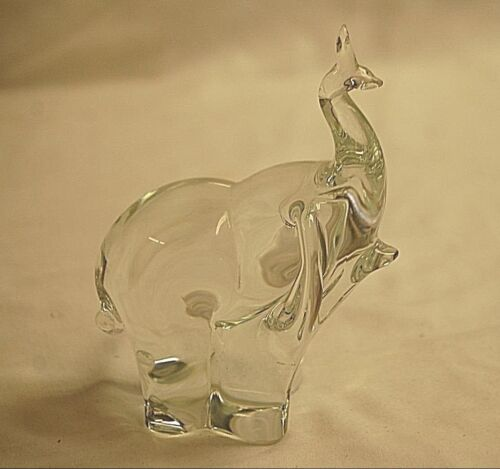 Elegant Paden City Elephant Trunk Up Clear Crystal Art Glass Animal Figurine