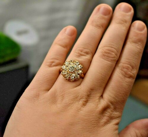 Estate antique 14K yellow gold 1.94 ct old mine cut diamond halo cluster ring