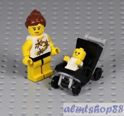LEGO - Baby Infant Minifigure Strolller w/ Mommy - Sitter Shower City Town - Lego Baby Shower