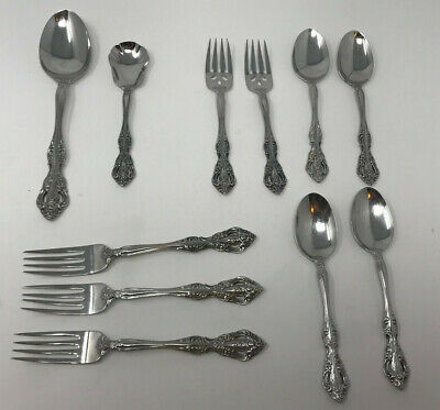 Oneida Michelangelo lot 11 pieces Stainless Heirloom  Sugar serving forks spoon