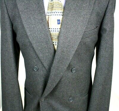 GIORGIO ARMANI VINTAGE Blazer Double Breasted Gray All Wool Four Button