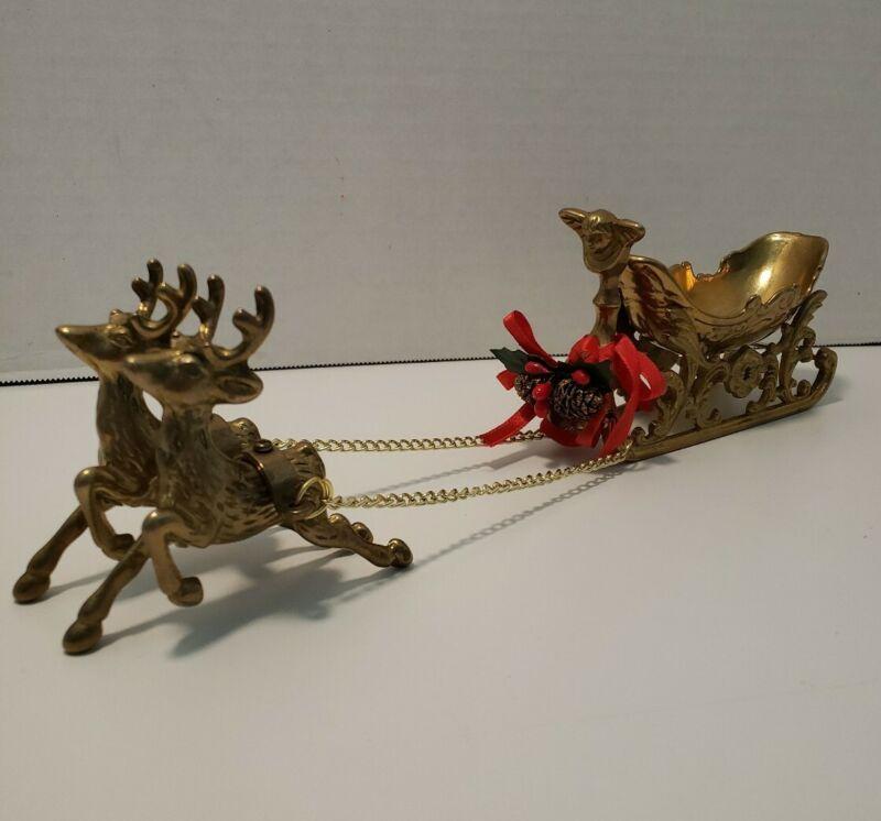 Vintage Christmas Decor Brass Santa