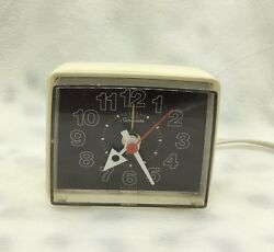 Vintage Sunbeam Electric Clock Alarm Table Top 1981 Works White Black