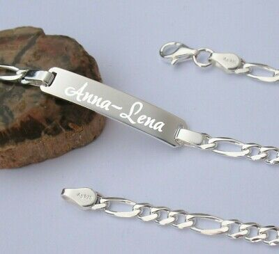 Partner Männer Herren Figaro Armband mit Name Datum Gravur 21 cm Echt Silber 925
