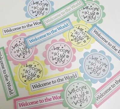 16 WELCOME TO THE WORLD - Baby Sentiments Hand Made Card Making Toppers (WTTW)