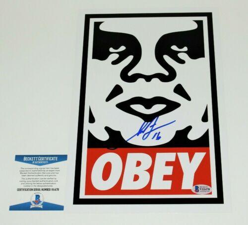 SHEPARD FAIREY STREET ARTIST SIGNED ANDRE GIANT 'OBEY' 8x12 PRINT BECKETT COA