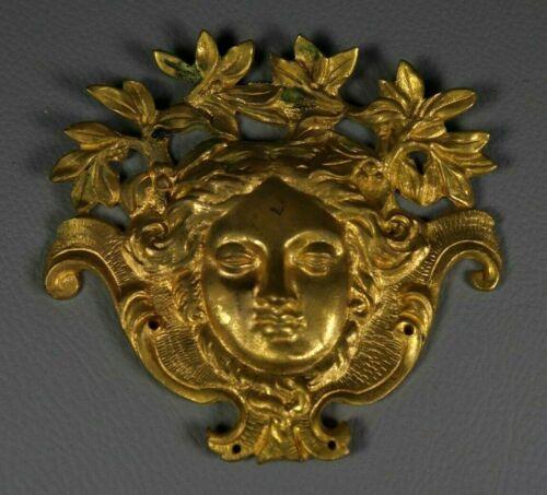 Antique French Gilt Bronze Empire Pediment Figural Woman Furniture Ornament