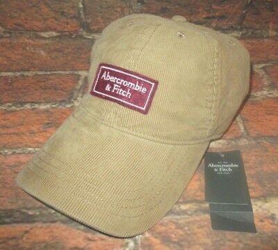 MENS ABERCROMBIE & FITCH KHAKI CORDUROY HAT STRAPBACK CAP ONE SIZE