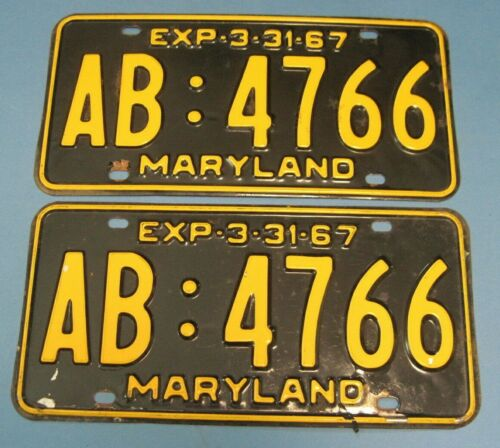 1967 Maryland License Plates Matched Pair