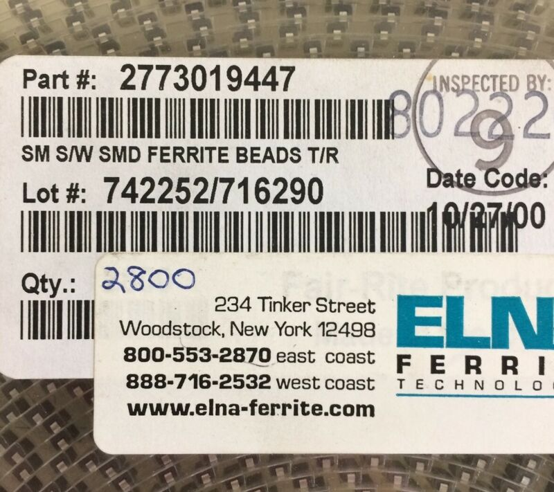 2773019447 ELNA INDUCTOR FERRITE BEAD 2SMD 1LN 50 PIECES