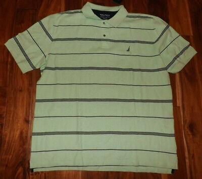NWT Mens NAUTICA Green Striped Short Sleeve Polo Shirt Size 3XL XXXL