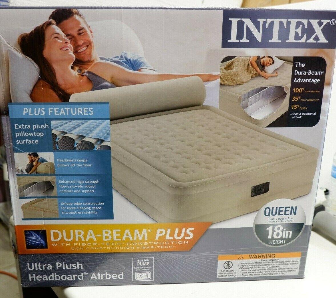 Intex Queen Raised Headboard Air Bed Mattress Airbed Built i